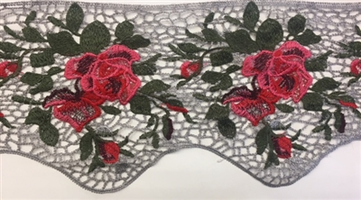 FLR-TRM-820-SILVERROSE. Silver and Rose Sew-On Floral Embroidery Lace Trim - Sold By The Yard