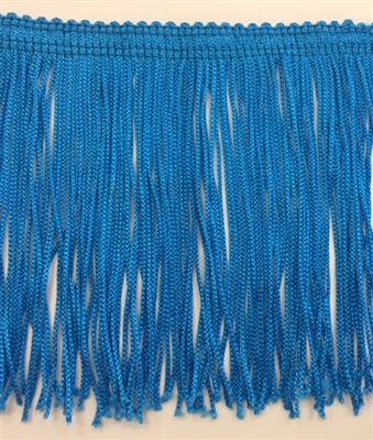 FRI-RAY-104STR-BLUE. 4 INCH Stretch Rayon Fringe - Blue