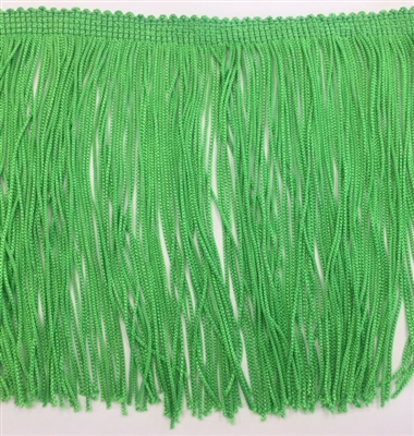 FRI-RAY-106STR-APPLE GREEN. 6 INCH Stretch Rayon Fringe - Apple Green