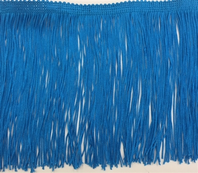 FRI-RAY-106STR-BLUE. 6 INCH Stretch Rayon Fringe - Blue