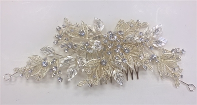 HDP-100-GOLD-CRYSTAL. WHOLESALE HEAD-PIECE, CLEAR CRYSTALS WITH GOLD BACKING ON A COMB