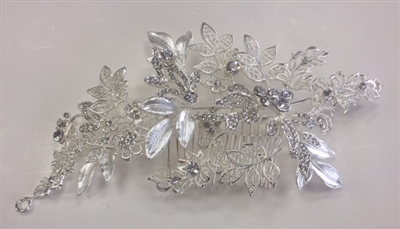 HDP-100-SILVER-CRYSTAL. WHOLESALE HEAD-PIECE, CLEAR CRYSTALS WITH SILVER BACKING ON A COMB