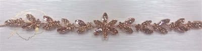 HDP-102-ROSEGOLD-CRYSTAL. WHOLESALE HEAD-PIECE, CLEAR CRYSTALS WITH ROSE-GOLD BACKING ON A COMB