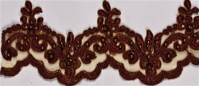 "LNS-BBE-101-Brown.  3.0""-wide Bridal Lace with Beads - Brown"