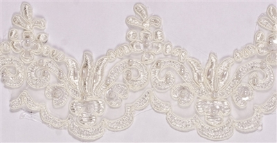 "LNS-BBE-101-Ivory.  3.0""-wide Bridal Lace with Beads - Ivory"