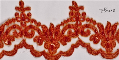 "LNS-BBE-101-Orange.  3.0""-wide Bridal Lace with Beads - Orange"