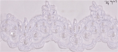 "LNS-BBE-101-White.  3.0""-wide Bridal Lace with Beads - White"
