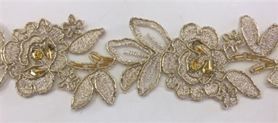 LNS-BBE-179-ANTIQUEGOLD.  BRIDAL BEADED LACE - ANTIQUE GOLD - METALLIC BORDERS - 2.0 INCHES WIDE