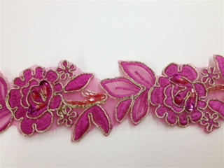 LNS-BBE-179-FUCHSIAGOLD.  BRIDAL BEADED LACE - FUCHSIA GOLD - 2.0 INCHES