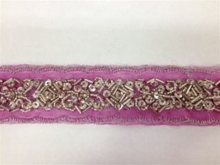 LNS-BBE-183-FUCHSIA.  BEADED BRIDAL LACE - 1.5 INCH