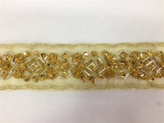 LNS-BBE-183-GOLD.  BEADED BRIDAL LACE - 1.5 INCH