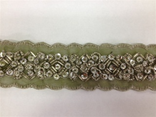 LNS-BBE-183-OLIVE.  BEADED BRIDAL LACE - 1.5 INCH