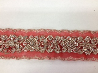 LNS-BBE-183-RED.  BEADED BRIDAL LACE - 1.5 INCH