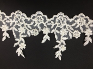 LNS-BBE-187-WHITE.  BRIDAL BEADED LACE.