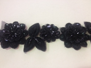 LNS-BBE-190-BLACK.  BRIDAL BEADED LACE - BLACK - 1.5 INCH WIDE