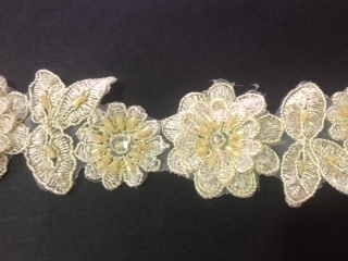 LNS-BBE-190-GOLD.  BRIDAL BEADED LACE - METALIC GOLD- 1.5 INCH WIDE