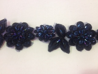 LNS-BBE-190-NAVY.  BRIDAL BEADED LACE - NAVY- 1.5 INCH WIDE