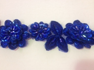 LNS-BBE-190-ROYALBLUE.  BRIDAL BEADED LACE - ROYAL BLUE - 1.5 INCH WIDE