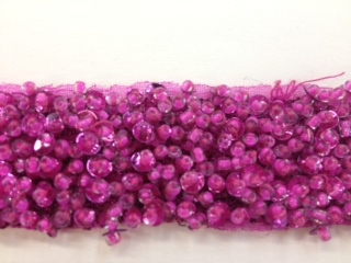 "LNS-BBE-193-FUCHSIA.  BRIDAL BEADED TRIM - FUCHSIA - 1.5"" WIDE"