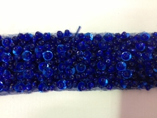 "LNS-BBE-193-ROYALBLUE.  BRIDAL BEADED TRIM - ROYALBLUE - 1.5"" WIDE"