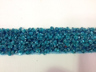 "LNS-BBE-193-TEAL.  BRIDAL BEADED TRIM - TEAL - 1.5"" WIDE"