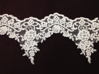 "LNS-BBE-194-WHITE.  BRIDAL BEADED TRIM - WHITE - 6.0"" WIDE"