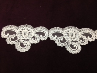 "LNS-BBE-195-WHITE.  BRIDAL BEADED TRIM - WHITE - 4.0"" WIDE"