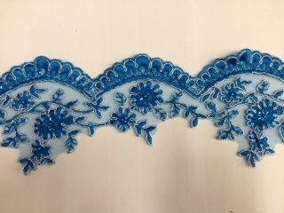 LNS-BBE-197-BLUE.  BRIDAL BEADED TRIM - BLUE- 3.5 INCH WIDE