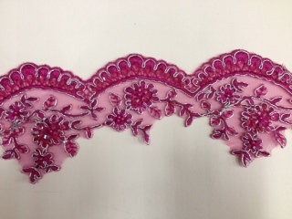 LNS-BBE-197-FUCHSIA.  BRIDAL BEADED TRIM - FUCHSIA - 3.5 INCH WIDE