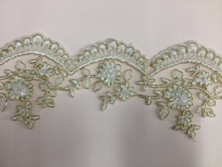 LNS-BBE-197-GOLD.  BRIDAL BEADED TRIM - GOLD - 3.5 INCH WIDE