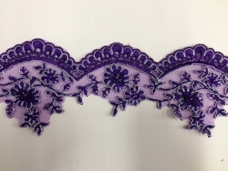 LNS-BBE-197-PURPLE.  BRIDAL BEADED TRIM - PURPLE - 3.5 INCH WIDE
