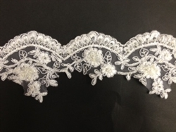 LNS-BBE-197-WHITE.  BRIDAL BEADED TRIM - WHITE- 3.5 INCH WIDE