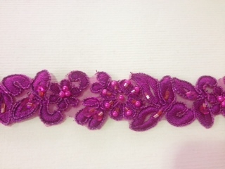 LNS-BBE-199-FUCHSIA.  BRIDAL BEADED TRIM - FUCHSIA - 1.25 INCH WIDE