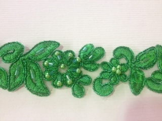 LNS-BBE-199-GRASSGREEN.  BRIDAL BEADED TRIM - GRASS GREEN - 1.25 INCH WIDE