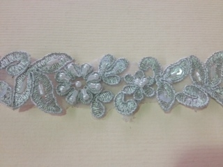 LNS-BBE-199-SILVER.  BRIDAL BEADED TRIM - SILVER - 1.25 INCH WIDE