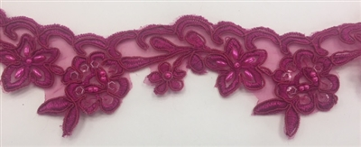 LNS-BBE-203-FUCHSIA.  FUCHSIA EMBROIDERY BRIDAL BEADED LACE ON ORGANZA