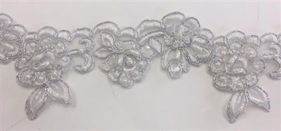LNS-BBE-203-WHITESILVER.  WHITE BRIDAL BEADED LACE WITH SILVER BORDERS ON ORGANZA