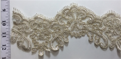 "LNS-BBE-204-GOLD. BRIDAL BEADED LACE - 4.5 "" WIDE"