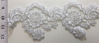 "LNS-BBE-205-WHITE. BRIDAL BEADED LACE - 4.5 "" WIDE"