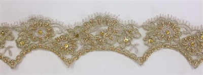 "LNS-BBE-206-GOLD. BRIDAL BEADED LACE - 2 "" WIDE"