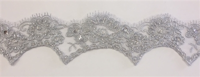 "LNS-BBE-206-SILVER. BRIDAL BEADED LACE - 2 "" WIDE"