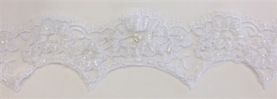 "LNS-BBE-206-WHITE. BRIDAL BEADED LACE - 2 "" WIDE"