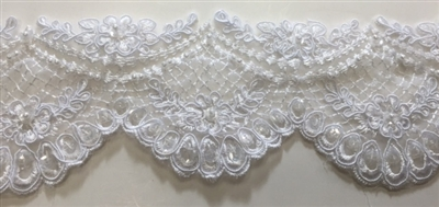 "LNS-BBE-207-WHITE. BRIDAL BEADED LACE WITH PEARLS AND SEQUINS - 3 "" WIDE"