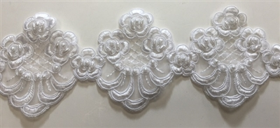 "LNS-BBE-208-WHITE. BRIDAL BEADED LACE WITH PEARLS - 3.5 "" WIDE"
