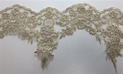 "LNS-BBE-209-GOLD. BRIDAL EMBROIDERED LACE - 6 "" WIDE"