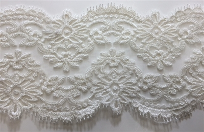 "LNS-BBE-210-OFFWHITE. BRIDAL EMBROIDERED LACE - 5 "" WIDE"