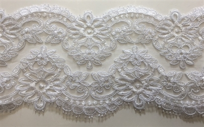 "LNS-BBE-210-WHITE. BRIDAL EMBROIDERED LACE - 5 "" WIDE"