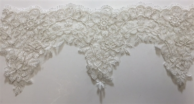 "LNS-BBE-211-OFFWHITE. BRIDAL EMBROIDERED LACE WITH METALIC SILVER BORDER - 5 "" WIDE"