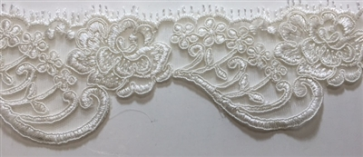 "LNS-BBE-215-OFFWHITE. BRIDAL EMBROIDERED LACE - 2.5 "" WIDE"