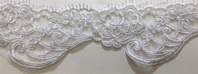 "LNS-BBE-215-WHITE. BRIDAL EMBROIDERED LACE - 2.5 "" WIDE"